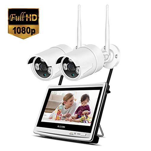 Lvreby 2CH/4CH/8CH 1080P Wireless NVR WiFi Sistema CCTV 12'Schermo LCD Monitor 2MP Home Sicurezza Esterna WiFi Telecamera videosorveglianza Kit,2CH