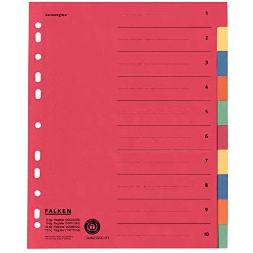 Original Falken Karton-Register überbreit. Made in Germany. Für DIN A4 24 x 29,7 cm volle Höhe mit Organisationsdruck 10-teilig vollfarbig 2 x 5 Farben zur Ablage von Prospekthüllen