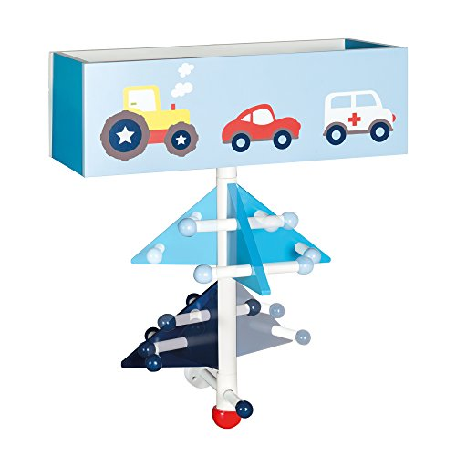 roba Kinder-Garderobe \'Rennfahrer\' aus Holz, blau lackiert und bedruckt, zur Beferstigung an der Wand, mit 9 Haken und 2 Fächern