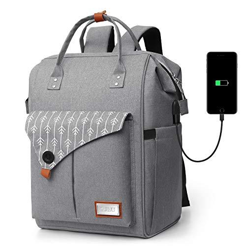 Zaino per Laptop, Zaino per Computer Portatile 15.6 Pollici, Zaino Donna con Caricatore USB, Zaino Lavoro Donna per Scuola Viaggio (H11-Gray)