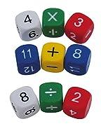 TimeTEX Set Mathe-Würfel mit den Zahlen 1-10 und Rechenzeichen - 10 Würfel - aus Kunststoff - 16 mm - 93559