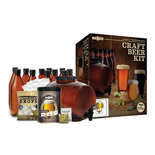 Mr. Beer 2 Gallon Complete Beer Making Kit with Bottles Perfect for Beginners, Designed for Quick and Efficient Homebrewing, Premium Gold Edition