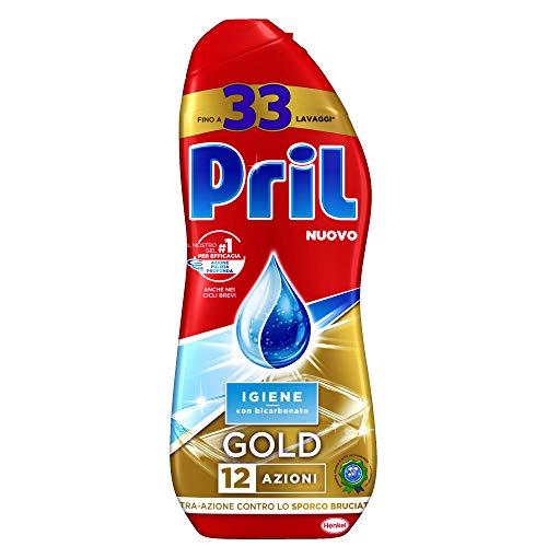 Pril Gold Gel Lavastoviglie Igiene, Detersivo Lavastoviglie con Bicarbonato, 33 Lavaggi