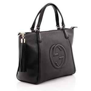 Gucci Soho Leather Top Handle Bag Zip Gold Leather Shoulder Italy Handbag New 23