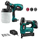 Cordless Brad Nailer (2.0Ah Battery and Charger Included) and Paint Sprayer with 3 Spray Patterns, 3 Nozzles and 1200ml Detachable Canister
