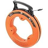 Klein Tools 56335 Flat Steel Fish Tape, 25-Foot 1/4-Inch Wide Spring Steel Tape, Slim Plastic Tip,...