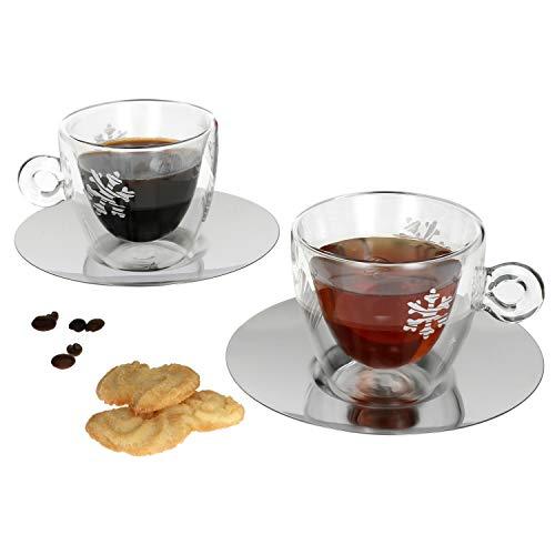 Luigi Bormioli - Set di 4 bicchieri da tè con motivo natalizio, 165 ml, tazza in vetro a doppia parete + sottobicchiere in acciaio inox, termico, espresso, moka e macchiato