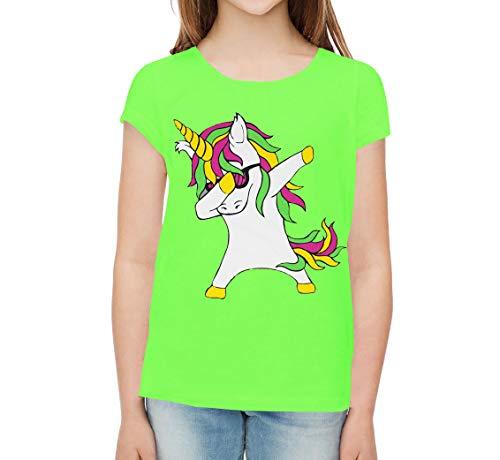 para Chica, Camiseta con Estampado de Unicornio, Top de Manga Corta (11-12 años, Verde)