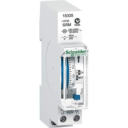 Schneider Electric 15335 Acti9 IH Inter Horaire Électroméca, 18 mm Largeur, 90 mm Hauteur, 66 mm Profondeur, 4-16 A, 250V, Blanc