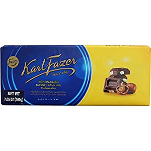 Delicious Fazer milk chocolate with whole hazelnuts