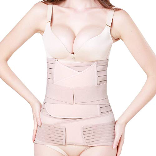 elebae 3 in 1 Postpartum Support Recovery Belly Wrap Pelvis Waist Postnatal Girdle Band Slimming Belt for Women (Skin Colour, X-Large)