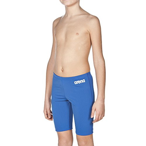 arena Jungen Trainings Badehose Solid Jammer (Schnelltrocknend, UV-Schutz UPF 50+, Chlorresistent, Kordelzug), Blau (Royal-White), 140