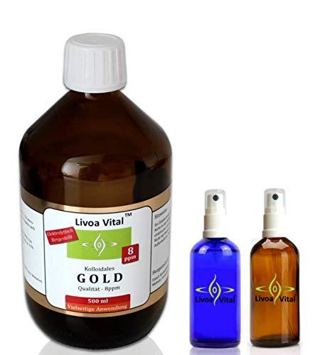 Kolloidales Gold 8ppm/500ml - Mit Gratis Spray Sprühflasche - Beste Qualität Durch Spezielles Verfahren - Höchstmögliche Reinheitsstufe von 99,99% - Fürs geistige und körperliche Wohlbefinden - Beruhigt Psyche und Nerven!