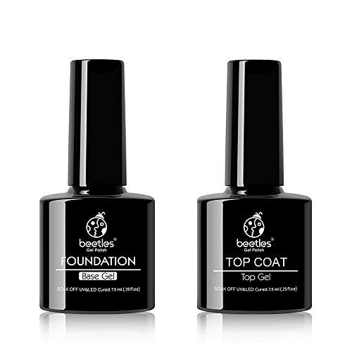 Beetles 2pcs 7.5ml No Wipe Gel Top Coat and Base Coat Set, Soak Off LED Clear Gel Base Top Gel Glossy Shine Finish Long Lasting Gel Polish Base and Top Coat Gel Lamp