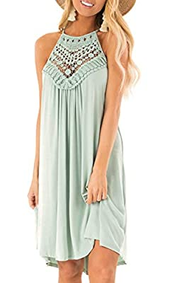 Material:Cotton .Relaxed And Breathable Fabric. Features:Halter Neck, Back keyhole, Lace patchwork, Sleeveless ,loose fit, tank top dress. Occasions: Great for Spring, Summer, Fall, Daily Casual, Date, Party, Beach, Vacation, Wedding, At Home. Also y...