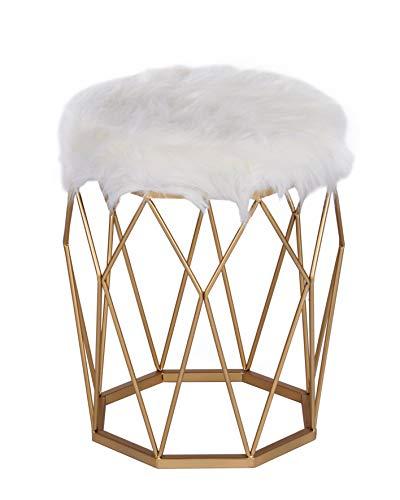 ts-ideen Polsterhocker mit Kunstfell Weiss Gold Metallgestell Rund Schemel mit Gepolsterter Sitzfläche Stuhl 49 x 41 x 41 cm