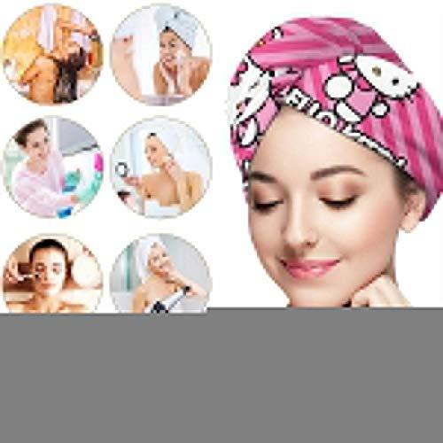 Hair Towel Wrap Turban Hello Kitty Microfiber Drying Bath Shower Head Towel With Button, Dry Hair Hat