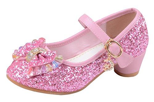 La Vogue Zapatos Zapatilla con Lentejuela Para Niña Princesa Fiesta Rosa 27/Longitud Interior 18CM