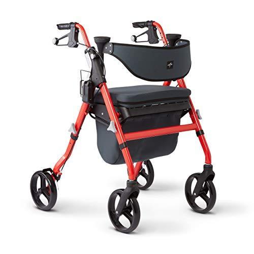 Medline Premium Empower Rollator Walker with Seat, Comfort Handles and Thick...