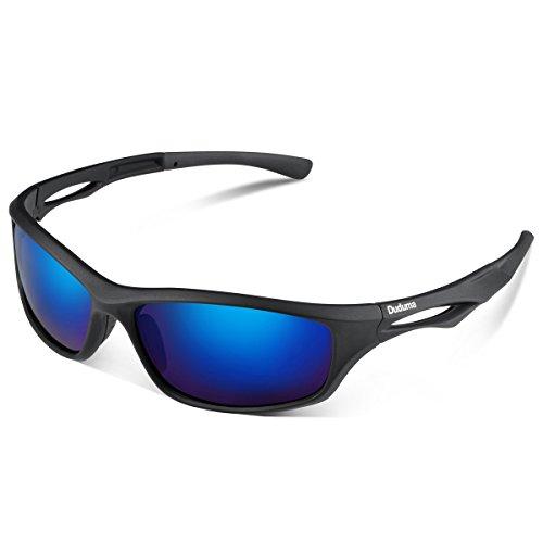 Duduma polarisierte Sport-Sonnenbrille für Ski fahren/ Golf/ Laufen/ Radfahren, Tr90,superleichter Rahmen, für Männer und Frauen Gr. M, black matte frame with blue lens
