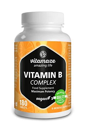 Vitamaze® Vitamine B Complex à fort dosage, végétalien avec 180 comprimés pour 6 mois d'approvisionnement en vitamine B1, B2, B3, B5, B6, B7, B9, B12 Fabriqué en Allemagne sans stéarate de magnésium