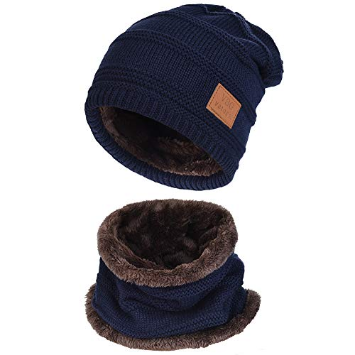 Vbiger Wintermütze Strickmütze Warme Beanie Winter Mütze und Schal mit Fleecefutter für Damen und Herren,S-dunkelblau+,Einheitsgröße