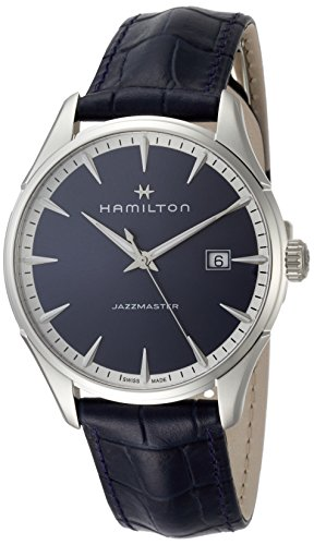 Hamilton Herren Analog Quarz Uhr mit Leder Armband H32451641