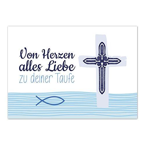 Glückwunschkarte Taufe mit Umschlag/Fisch im Wasser blau/Taufkarten/Karte für Glückwünsche/zur Feier