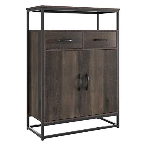 HOMECHO Side Storage Cabinet, Industrial Floor Standing Cabinet with 2...