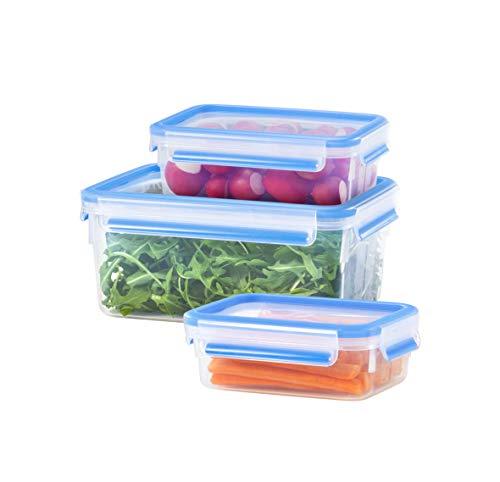 Emsa 508558 Food Clip & Close,Plastik, Transparent / Blau 1 Liter, Set mit 3 Boxen