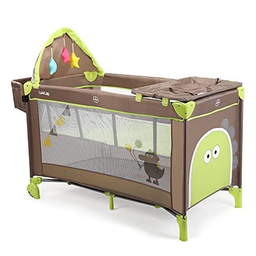 LuvLap Wonderjoy Baby Playpen Playard / Folding Baby Bed Cum Cot / Convertible Crib - (Brown &...