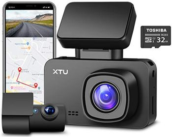 XTU 4K Dash Cam with WiFi/ GPS and Magnetic Mount Built-in, Dash Camera with Sony Sensor 1440P+1080P Dual Lens, Mini Size,Loop Recording,Gesture Snapshot,Auto Recording (32G SD Card Included)