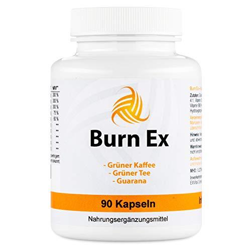 Burn Ex, Grüner Kaffee Extrakt mit Chlorogensäure , 90 grüner Kaffee Kapseln (wenig Kalorien zur Diät geeignet), 1800 mg grüner Kaffee Extrakt + Grüner Tee + Guarana, F-Burn