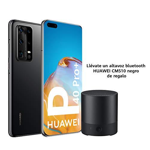 "HUAWEI P40 Pro+ 5G - Smartphone de 6.58"" OLED (8GB RAM + 512 GB ROM, Penta Cámara Leica de 50 MP (50+40+8+8+TOF), Zoom 100x, Kirin 990 5G, 4200 mAh, Carga rápida, EMUI 10 HMS) Negro + Altavoz CM510"