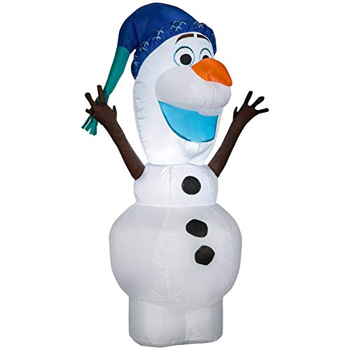 Gemmy Inflatable Olaf in Blue Christmas Hat Indoor/Outdoor Holiday Decoration - 3.5Ft. Tall