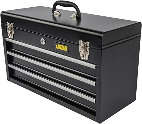 Product Image 1: JEGS 3-Drawer Portable Toolbox   Ball-Bearing Drawer Slides   Rust-Resistant Latches   Black Powder Coat Finish   Includes Lock and Keys