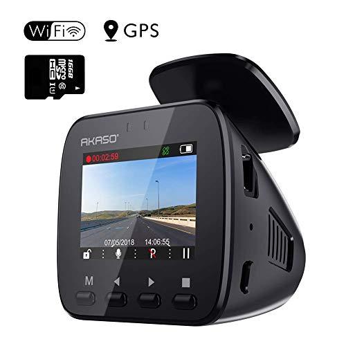 AKASO GPS Dashcam Full HD 1296P Autokamera GPS Auto Kamera mit WiFi, 170° Weitwinkelobjektiv, Parkmonitor, Loop Aufnahme, Nachtsicht und G-Sensor, eine 16GB SD Karte Beigefügt