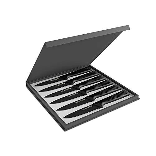 YOLEYA Set Coltelli da Bistecca 6 pezzi, coltelli bistecca con 13cm lama seghettata, nero ad alto contenuto di carbonio in acciaio inox bistecca posate, macchia e resistente alla corrosione