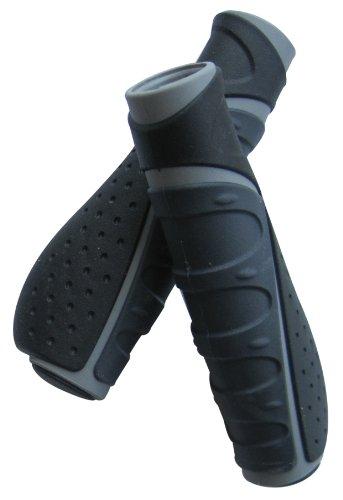 自転車 グリップ サイクルギア フラットグリップ キャップ付 L/L ブラック/グレー 84043