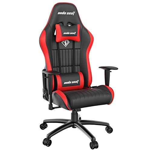 Game Chair,ANDASEAT Jungle Ergonomic Racing Computer Gaming Chair,5 Angle Adjustable Armrest Swivel Rocker Recliner Office Chair with High-end Leather,Headrest and Lumbar Pillow E-Sports Chair-Red