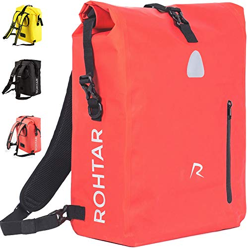 Rohtar Waterproof Bike Pannier Bag - 18L & 25L | Bicycle Storage Pouch with Adjustable Straps, Handlebar Clamps & Hidden Zips | 3-in-1 Saddle Pack, Backpack, Carrier and Cross Shoulder Strap | Red