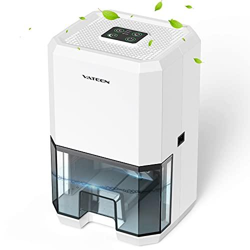 VATEEN Deshumidificador eléctrico portátil,1200ml Mini,purificación de aire,3 temporizadores,deshumidificador silencioso con modo de reposo,ideal para dormitorios, baños, garaje, caravana, etc.