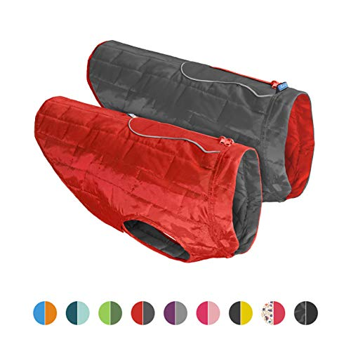 Kurgo Dog Jacket | Reversible Winter Coat for Dogs | Fleece Vest for Pets | Reflective | Wear with Harness | Water Resistant Loft Jacket | For Small Medium Large Pets (Red/Grey, Large)