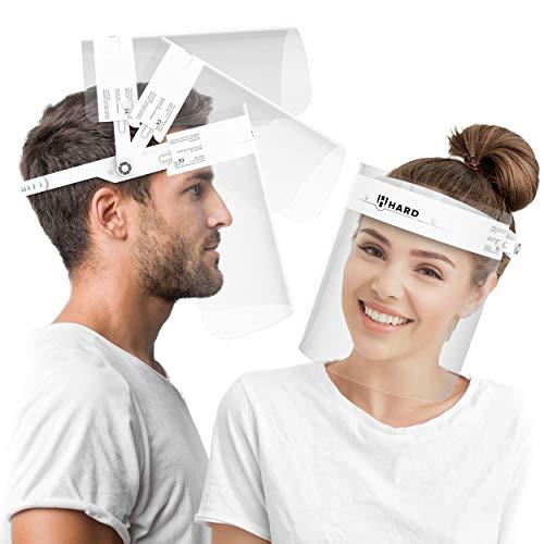 HARD Visiera Protettiva Apribile 1 x Supporto con 2 x Visiere intercambiabile, chiusura Cap regolabile, Anti-nebbia, Certificato medico, Face Shield - Bianco/Bianco