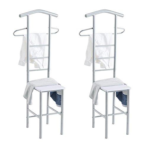 CARO-Möbel Herrendiener 2er-Set JIVO Kleiderständer Garderobenständer, Metall alufarben und MDF in Weiss