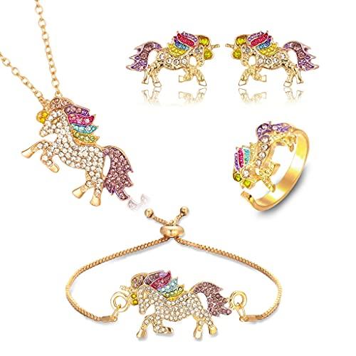 PALAY® 4 Pack Unicorn Necklace Jewelry Set, Unicorn Gifts for Girls, Rainbow Unicorn Necklace, Bracelet, Earring, Ring, Unicorn Jewelry for Girls Women?Gold?