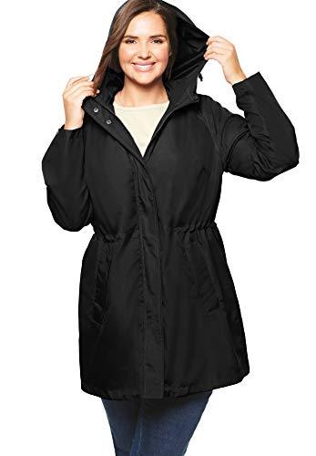 Woman Within Women's Plus Size Packable Anorak Raincoat - 22 W, Black