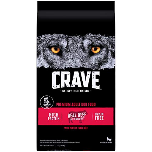 CRAVE Grain Free Adult High Protein Natural Dry Dog Food with Protein from Beef, 22 lb. Bag