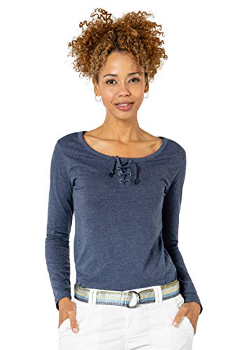 Sublevel Damen Basic Langarm-Shirt mit Kordeln Rundhals Light-Blue XL