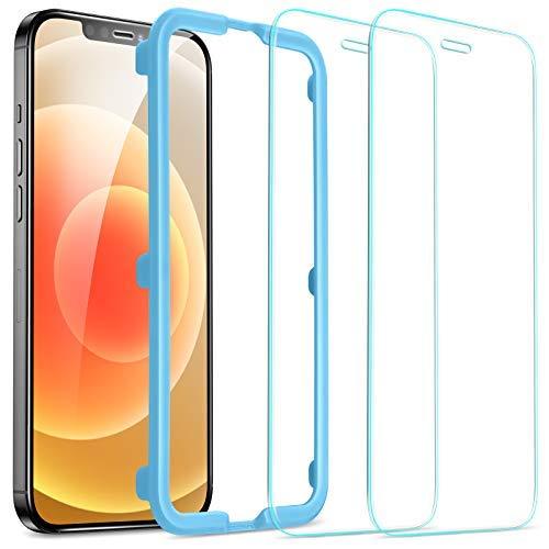 ESR iPhone 12 ガラスフィルム/iPhone 12 Pro ガラスフィルム 強化ガラス [貼り付け簡単 ガイド枠付き] [ケ...
